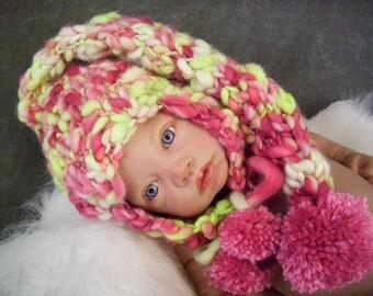 Newborn Pixie Hat, Newborn Earflap Hat, Newborn Photo Prop, Pink and Green Hat, Hand Knit Baby Hat, Hand Knit Pixie Hat, Merino Wool Hat