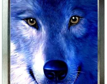 Blue wolf design 2oz silver tobacco tin,pill box,storage tin