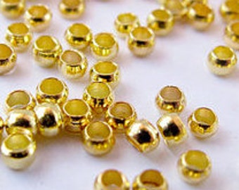 gold crimp beads 2 mm,1000 pcs, round shape crimp beads,beading supply, jewelry finding, beading material, crimping beads,