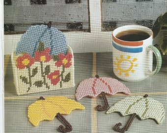 Rainy Day Umbrella Coaster Set in Plastic Canvas