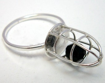 Swarovski Cage Ring Handmade Freedom Silver Kinetic UK