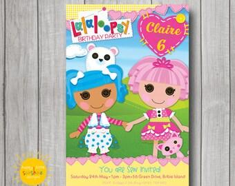 Girl Birthday Invitation Personalised Printable Any Age Lalaloopsy