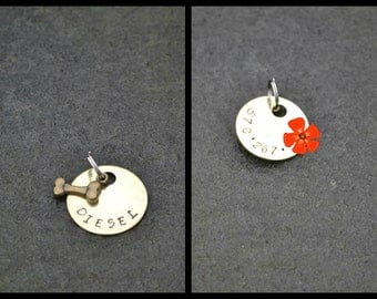 Pet ID Tag - Dog Tag - Collar Tag - with a  Brass Bone -  Pet Accessories - Personalized