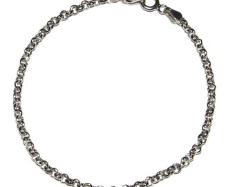 "7.5 inch 925 STERLING SILVER Chain Rolo Bracelet 7.5"" Rhodium Finished"