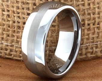 Wedding Band Modern High Polished Middle Satin Finish Ring Customized Tungsten Band Mens Tungsten Ring Mens Wedding Ring Engraving 8mm New