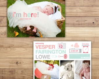 Girl Birth Announcement - Photo and Birth Stats Announcement. Digital File