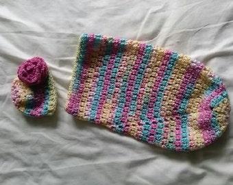 Crochet newborn hat and cocoon set.