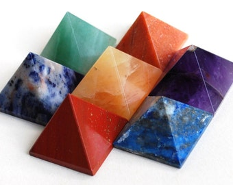 Complete Set of Seven Chakra Crystal Pyramids Natural Stones