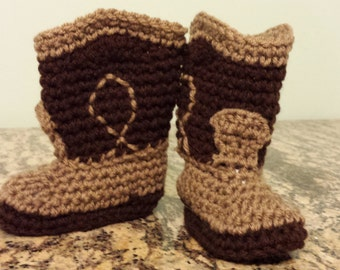 Brown and tan cowboy boot style baby booties