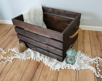 Rustic Wood Crate with Rope Handles - Extra Large 24x18x11.75