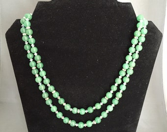 Jade and Crystal Necklace and Earrings set