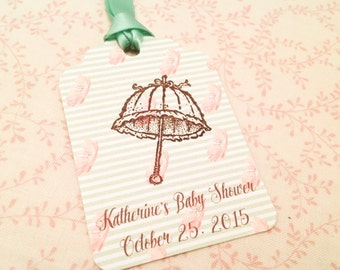 Baby Shower Favor Tag Coral and Mint Green-Parasol Umbrella Thank You Favor Gift Tag-Set of 12