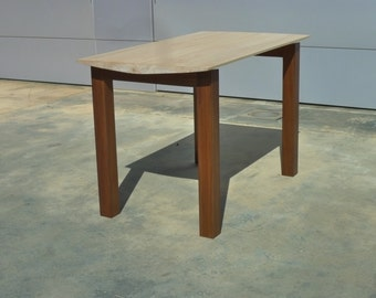 """Small walnut and maple table. 40""""x24'x27"""""""