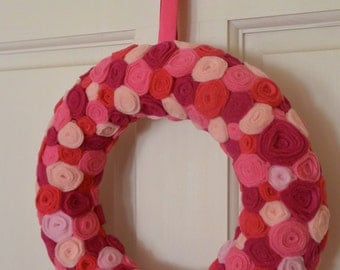 Handmade Pink Rosette Flower Wreath