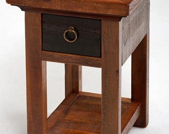 Reclaimed Barnwood Forged Collection End Table Or Nightstand With Shelf