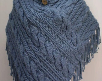 Items similar to ENGLISH Short Sleeves Cabled Poncho Knitting Pattern PDF on ...