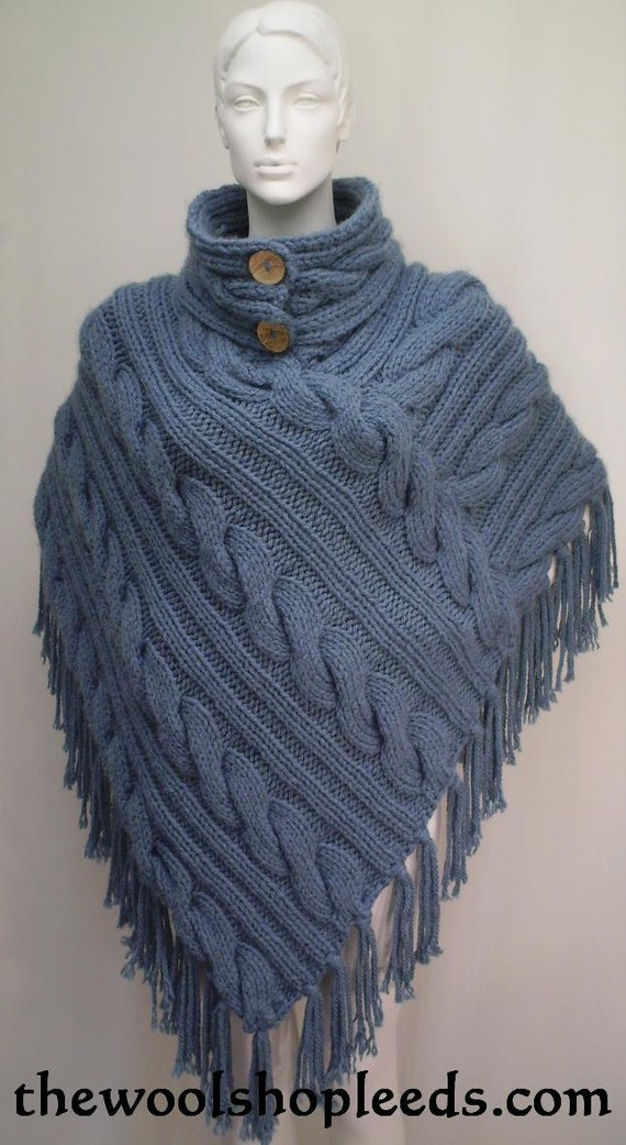 Knitting Pattern Poncho With Collar : SuperChunky Cabled Poncho Knitting Pattern with separate