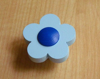 Childrens drawer knobs, Blue drawer knobs and pulls, Flower kids knobs, Furniture accessories, Children room ideas, Toddler room decor
