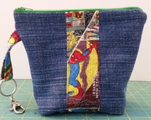 Upcycled Denim & Superhero zippered pouch / coin pouch / change purse