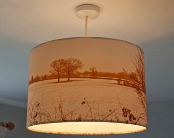 Unique Handmade, photographic 40cm Drum lampshade - Wintery Fields