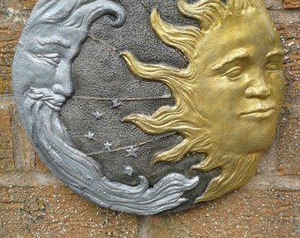 Moon and Sun Garden Wall Plaques - Hand Cast & Painted Frost Proof Astrology Zodiac