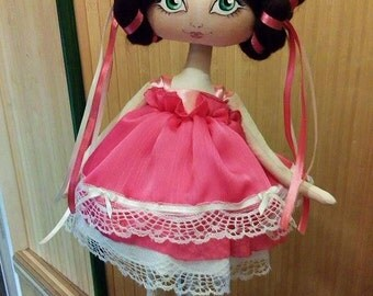 exclusive handmade textile doll, h 17'', cloth doll