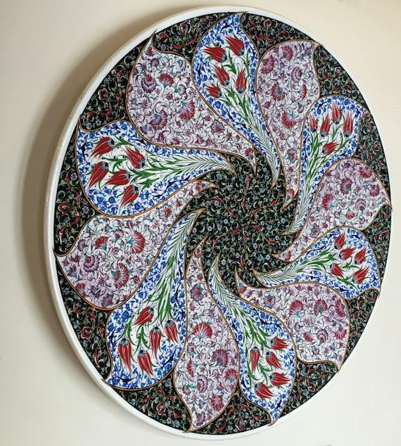 Traditional Ottoman Tulip Design Plate - 90cm diameter
