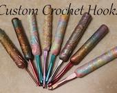 Custom Crochet Hooks, Paisley design with clear epoxy coating.