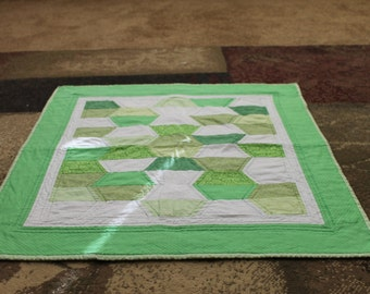 Adorable Green and White Baby Quilt