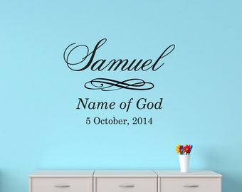 Removable Personalised Child's Wall Decal - Name, Meaning and DOB, Vinyl, Wall Sticker