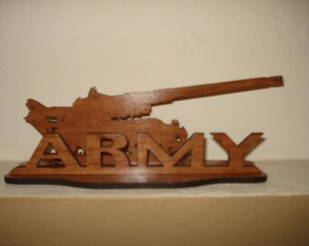 Army Wooden 3D Decorative Emblem Tank Office Desk Home Decor Laser Cut Cherry Mdf Military Armed Forces