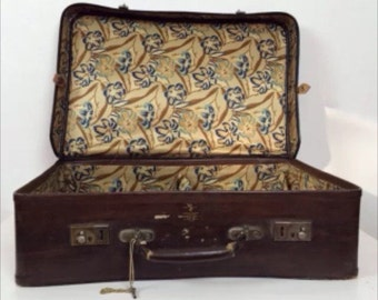 vintage antique brown suitcase