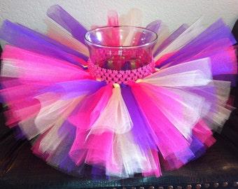 Hot pink yellow purple tutu, birthday tutu, baby tutu, toddler tutu, girl tutu, photo prop, hot pink, yellow, purple, tutu