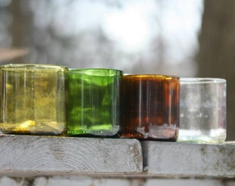 8 oz Wine Bottle Drinking Glasses Tumblers - Up-cycled from Used Wine Bottles