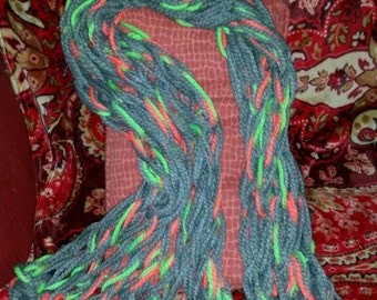 Grey and Neon Wrist Knit Scarf/Shawl