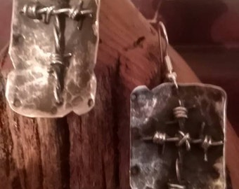 Sterling silver hammered dog tag style earrings with sterling barbed wire crosses