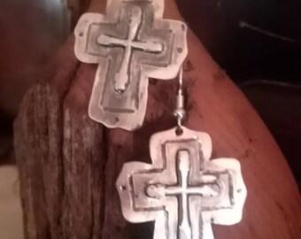 Handmade cross on cross earrings sterling