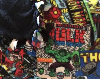 Marvel Comics Blanket- No Sew Fleece Blanket / Tie Blanket- Large