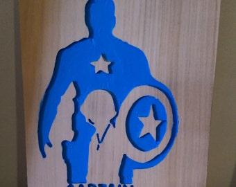 Retro Captain America, hand carved art work