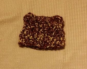Crocheted Fuzzy Bear Baby Beanie