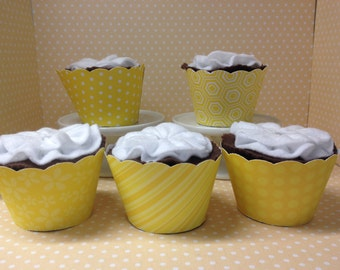 Yellow Cupcake Wrappers-set of 10