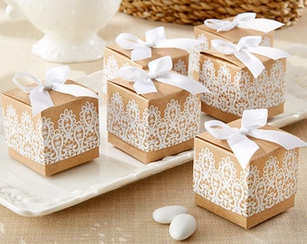 Rustic & Lace Brown Wedding Favor Boxes or Bridal Shower Favor Box (set of 24) Special promotion for July - Buy 4 sets get your 5th set FREE