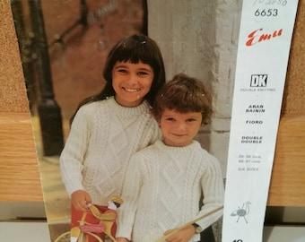 Emu Knitting pattern 6653, Vintage Childs Sweater Pattern, Collectible Pattern