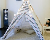 Kids Teepee Tent Play House Gray Rabbit - Poles - Play Mat