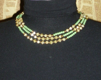 Vintage beads necklace triple strands, 60's,
