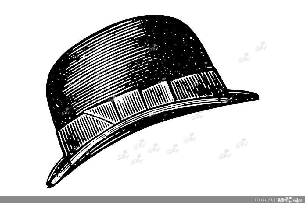 Bowler Hat Silhouette Vintage Bowler Hat by DigitalArtPress