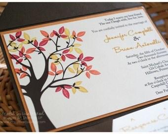 Custom Printed Fall/Autumn Wedding Pocket Fold Invitation