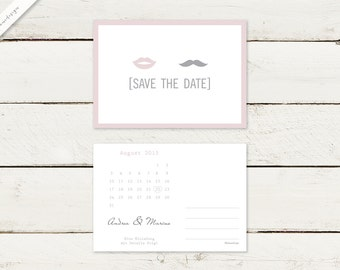 50 x save the date postcard   Lips & moustache