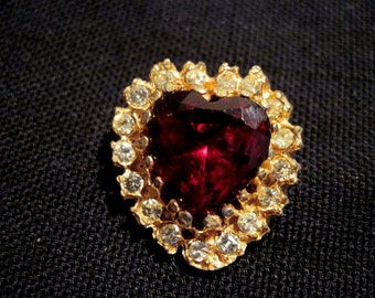 Goldtone Red Heart Lapel Pin with Rhinestones