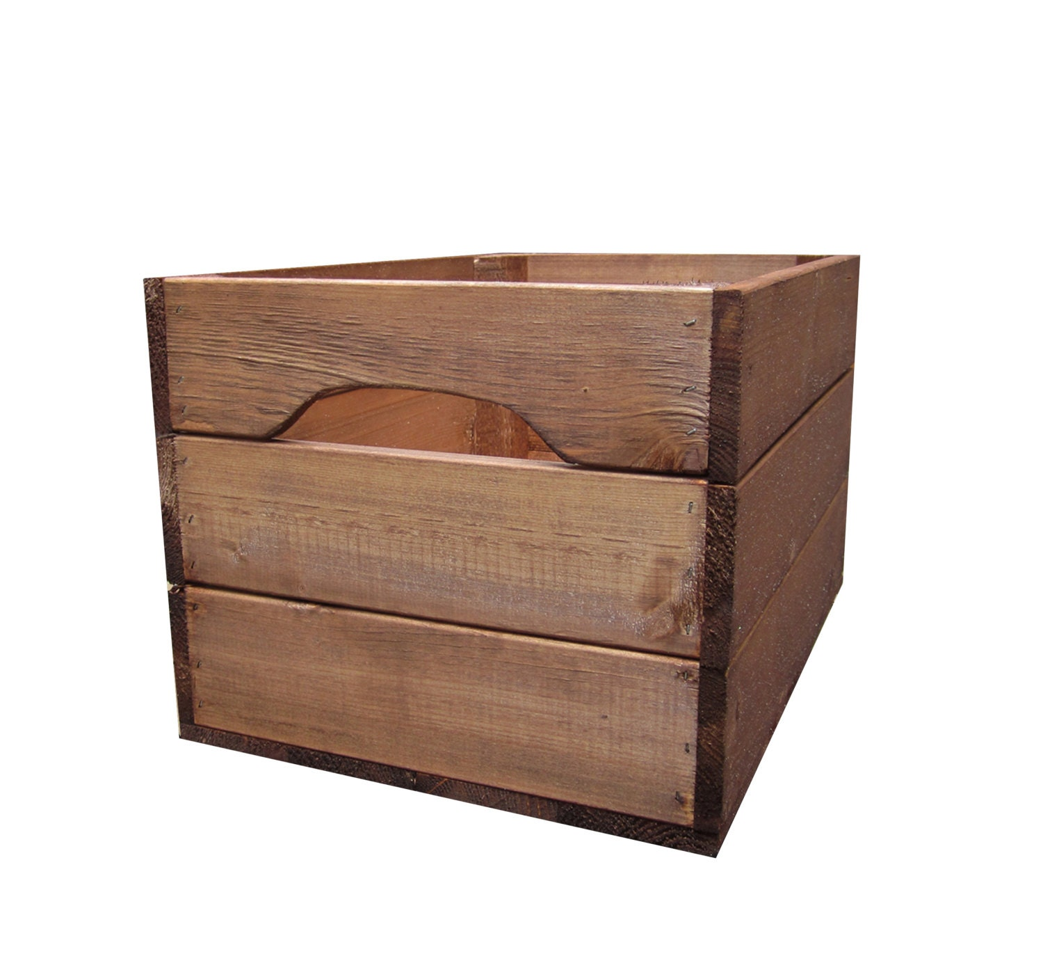 Large rustic farmhouse wooden crate storage box for Re storage crate